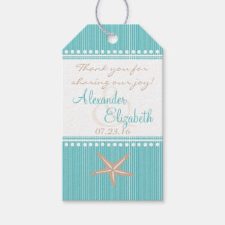 Aqua Blue Beach Wedding Guest Favor Thank You- Gift Tags