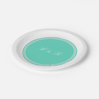 Aqua Blue Box with White Wedding Detail 7 Inch Paper Plate