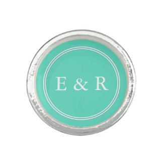 Aqua Blue Box with White Wedding Detail Photo Rings