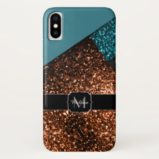 Aqua blue bronze sparkles modern Monogram iPhone X Case