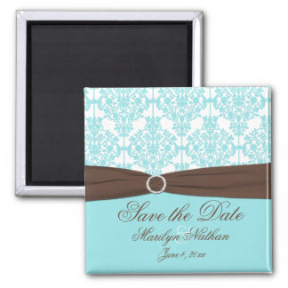 Aqua Blue, Brown, White Damask Save the Date Magnet