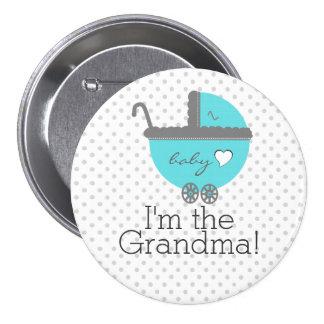 Aqua Blue Carriage Baby Shower Grandma 3 Inch Round Button