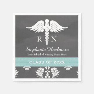 Aqua Blue Chalkboard Caduceus Nurse Graduation Disposable Napkins