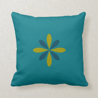 Aqua Blue & Chartreuse Geometric Floral Throw Pillow