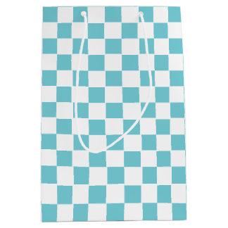 Aqua Blue Checkered Medium Gift Bag