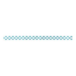 Aqua blue checkered satin ribbon