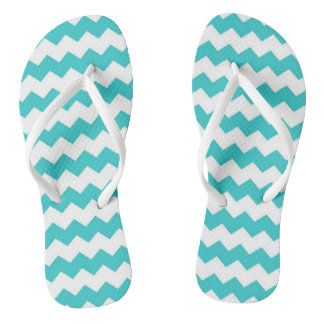 Aqua Blue Chevron Adult Flip Flops