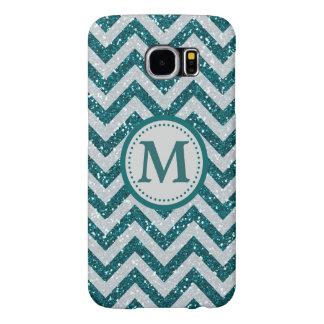 Aqua Blue Chevron Silver Faux Glitter Monogram Samsung Galaxy S6 Cases