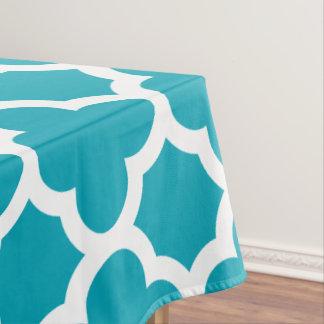 Aqua Blue Classic Quatrefoil Tablecloth