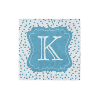 Aqua Blue Confetti Dots Monogram Stone Magnets