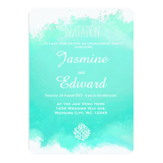 Aqua blue coral reef watercolor splash wedding card