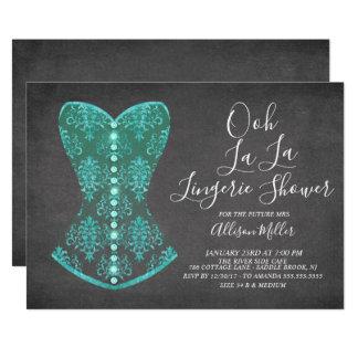 Aqua Blue Corset Lingerie Bridal Shower Invitation