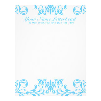 Aqua Blue + Custom Color Customized Letterhead