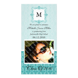 Aqua Blue Damask Initial Graduation Photo Card