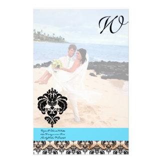 Aqua Blue Damask Monogram Wedding Personalized Stationery