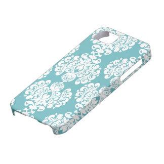 Aqua blue damask stylish pattern iphone 5 casemate iPhone 5 cover