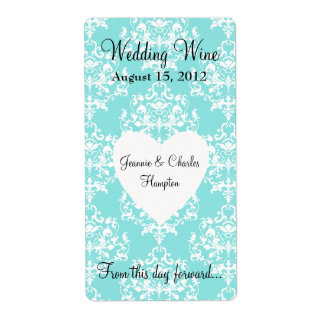 Aqua Blue Damask Wedding Mini Wine Label Shipping Label