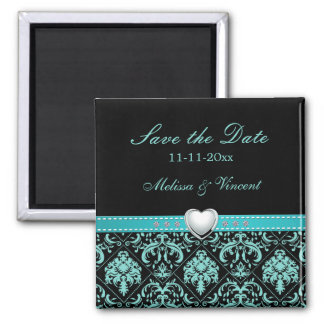Aqua Blue Damask Wedding Save the Date Magnets