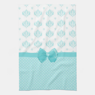 Aqua Blue Damask With Turquoise Ribbon Kitchen Towel