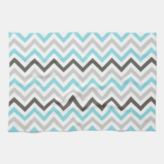 Aqua Blue, Dark Gray, Light Gray, & White Chevron Kitchen Towel