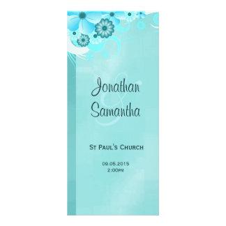 Aqua Blue Dark Teal Floral Wedding Programmes Rack Card Design