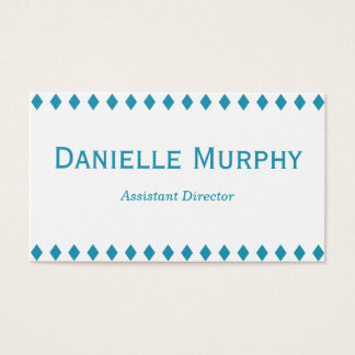 Aqua Blue Diamond Border Business Card