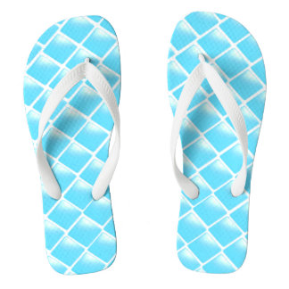Aqua Blue Diamond Design Flip Flops