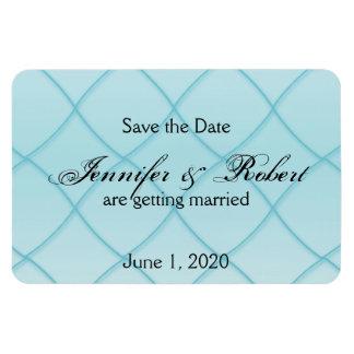 Aqua Blue Diamond Pattern Wedding Save the Date Rectangular Photo Magnet