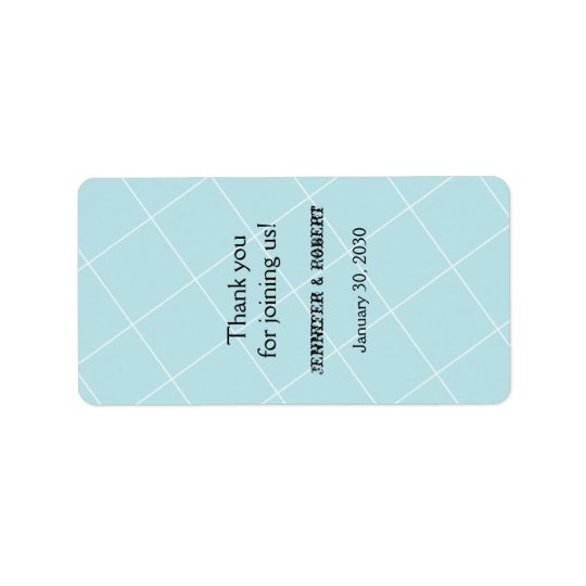 Aqua Blue Diamond Wedding Lip Balm Label