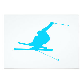 Aqua Blue Downhill Skier Card