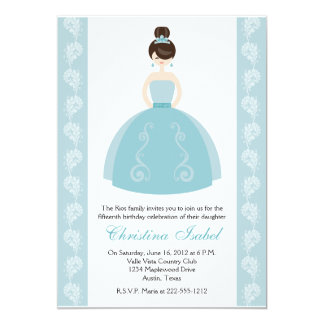 Aqua Blue Dress Brunette Quinceanera Invitations