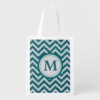 Aqua Blue Faux Glitter Monogram Reusable Grocery Bag