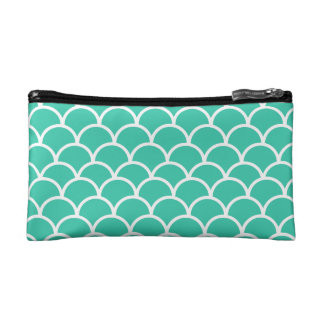 Aqua Blue Fish scale pattern Makeup Bag