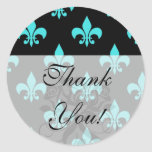 aqua blue fleur de lis pattern round sticker
