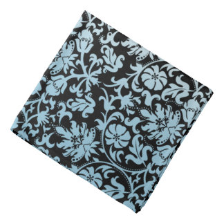Aqua Blue Floral Damask on Black Bandana