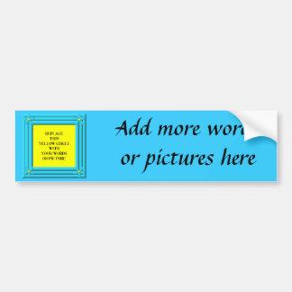 Aqua blue floral frame background bumper sticker