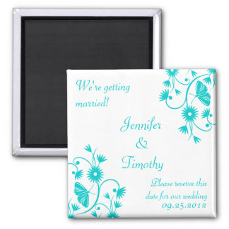 Aqua blue floral save the date magnet
