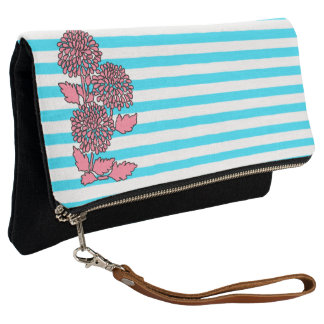 Aqua Blue Floral Striped Clutch