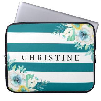 Aqua Blue Floral Watercolor Stripe Laptop Laptop Computer Sleeves
