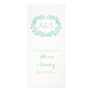 Aqua blue foliage frame wedding program
