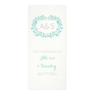 Aqua blue foliage frame wedding program rack card design