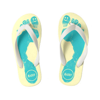 Aqua Blue Footprints Smiley-Toes™ Happy Sun Yellow Kid's Flip Flops