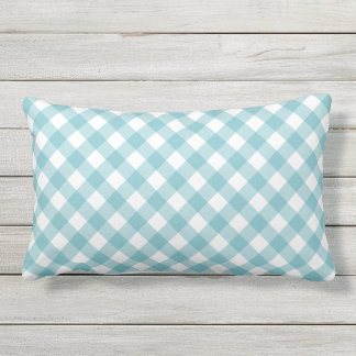 Aqua Blue Gingham Pattern Lumbar Pillow