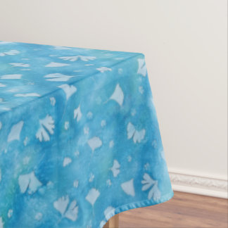 Aqua Blue Ginkgos and Flowers Sunprint Table Cloth