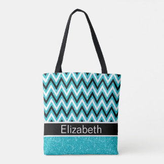 Aqua Blue Glitter Black White Chevron Tote Bag