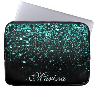 Aqua Blue Glitter Girly Trendy Modern Black Laptop Sleeve