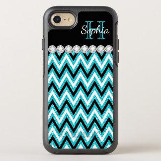 Aqua Blue Glitter Monogram Black White Chevrons OtterBox Symmetry iPhone 7 Case