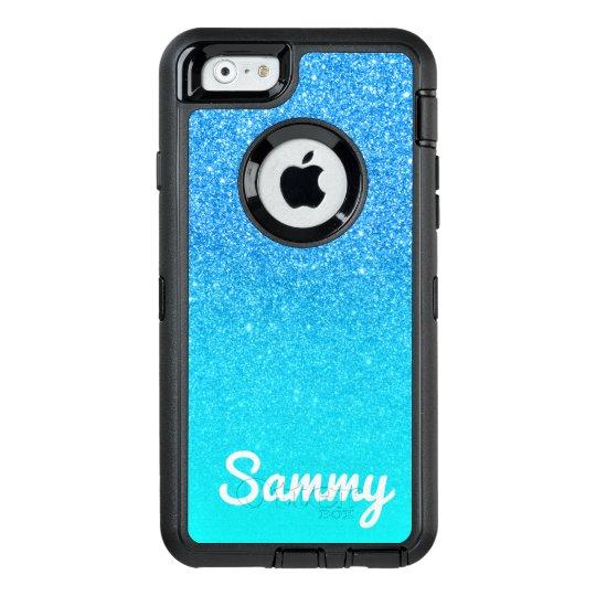 Aqua Blue Glitter Ombre Personalized OtterBox Defender iPhone Case