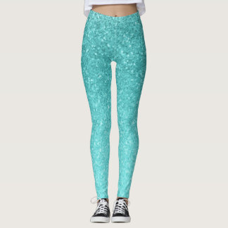 Aqua Blue Glitter Sparkle Girly Glam Mermaid Leggings