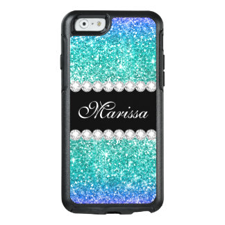 Aqua Blue Glitter Teal Ombre Stylish Black OtterBox iPhone 6/6s Case